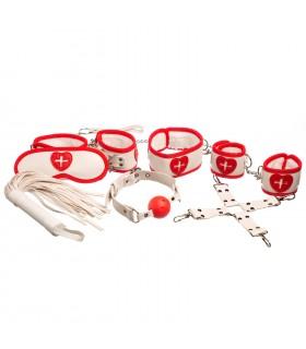 Бондажный набор 8 предметов, с крестами, для игры в доктора, белый - No Taboo