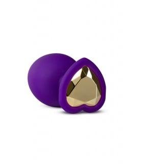Анальная пробка силиконовая с золотым стразом в форме сердца, 7,6 х 2,5 см - No Taboo