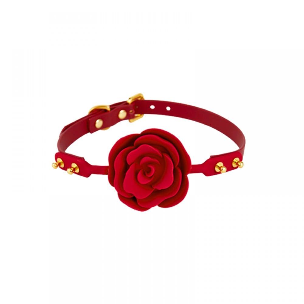 Кляп роза из силикона и итальянской кожи Rose Ball Gag UPKO красный (38294), фото 1 — секс шоп Украина, NO TABOO