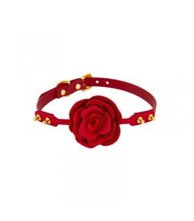 Кляп роза из силикона и итальянской кожи Rose Ball Gag UPKO красный - No Taboo