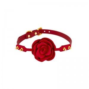 Кляп роза из силикона и итальянской кожи Rose Ball Gag UPKO красный (38294), zoom