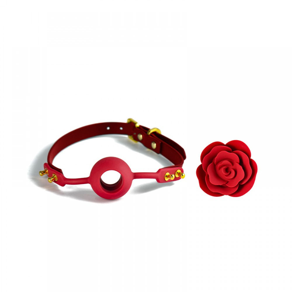 Кляп роза из силикона и итальянской кожи Rose Ball Gag UPKO красный (38294), фото 3 — секс шоп Украина, NO TABOO