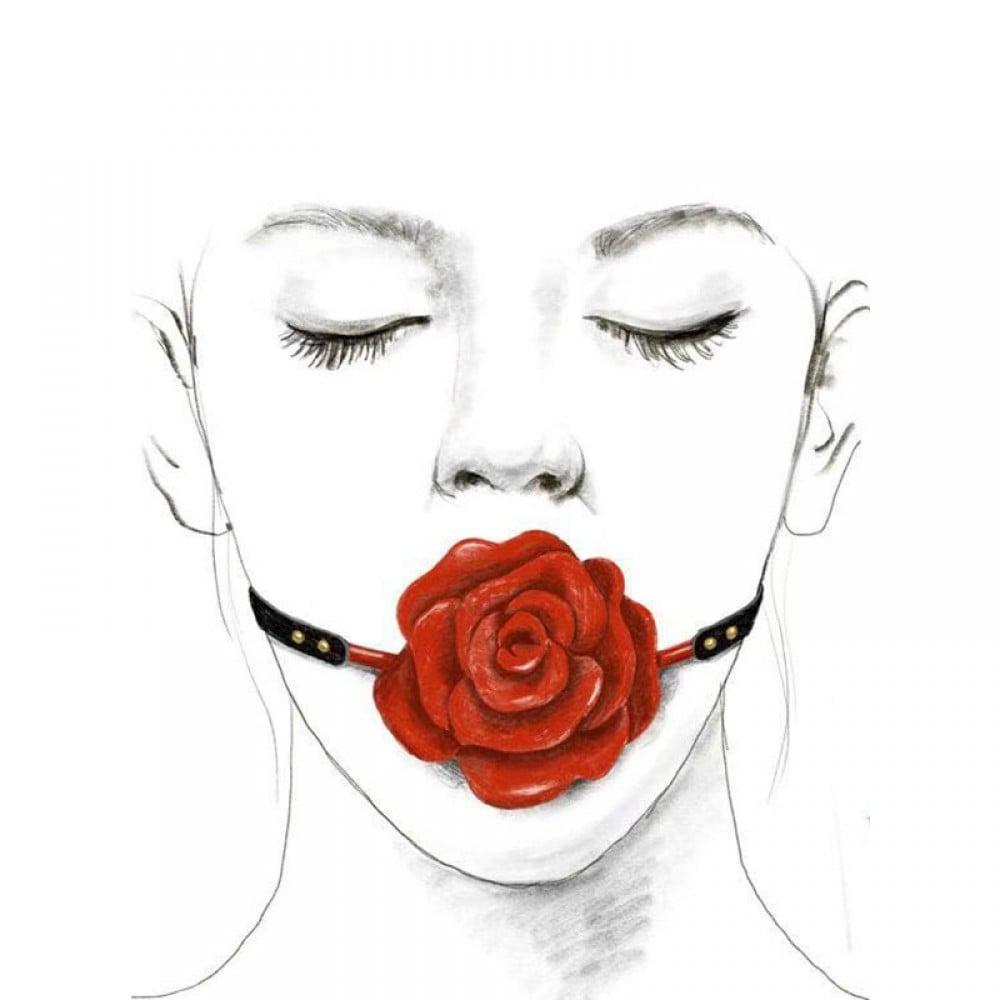 Кляп роза из силикона и итальянской кожи Rose Ball Gag UPKO красный (38294), фото 5 — секс шоп Украина, NO TABOO