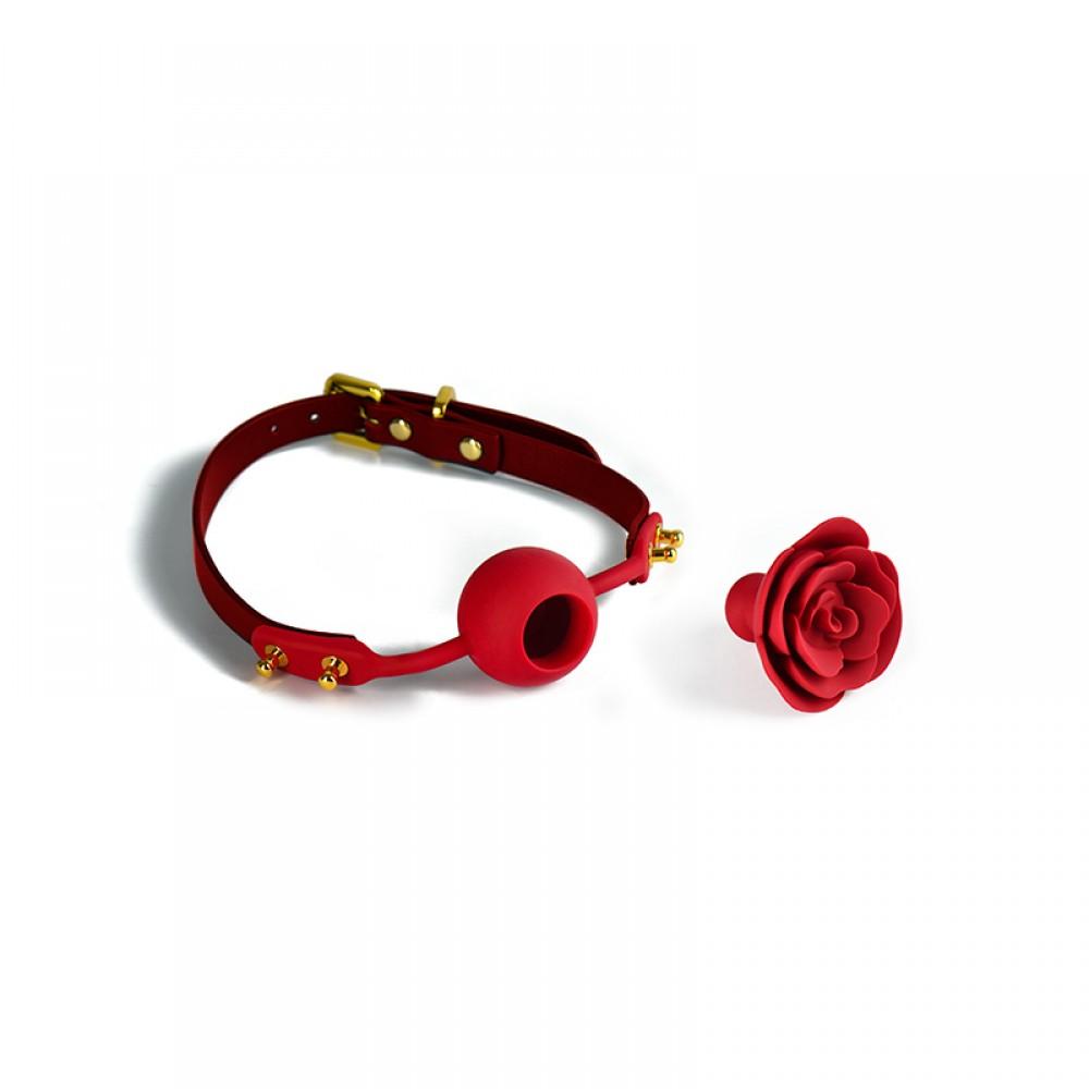 Кляп роза из силикона и итальянской кожи Rose Ball Gag UPKO красный (38294), фото 2 — секс шоп Украина, NO TABOO