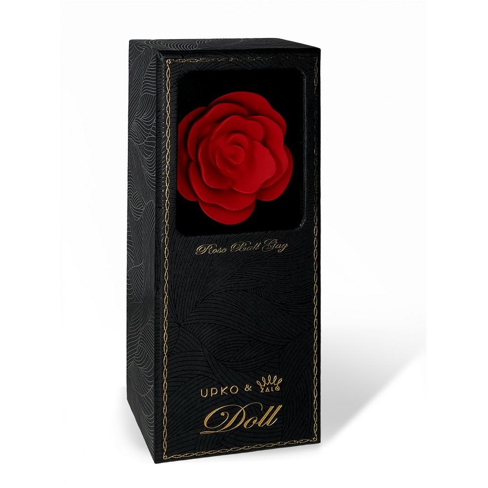 Кляп роза из силикона и итальянской кожи Rose Ball Gag UPKO красный (38294), фото 6 — секс шоп Украина, NO TABOO