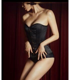 Корсет еротичний UPKO атласний, чорний, Розмір S - No Taboo