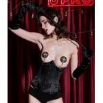 Корсет эротический UPKO под грудь, с пэстисами в комплекте, черный, L