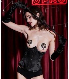 Корсет эротический под грудь UPKO, размер S, с пэстисами в комплекте, черный - No Taboo