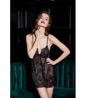 Сорочка эротическая с вышивкой и подкладкой из сетки, черная, UPKO, размер M - No Taboo