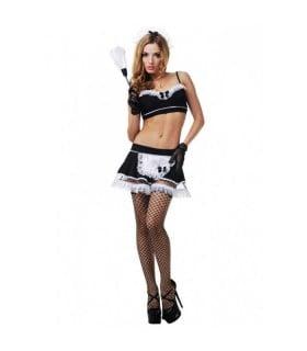 Рольовий костюм покоївки LeFrivole, 6 предметів, чорний L/XL - No Taboo