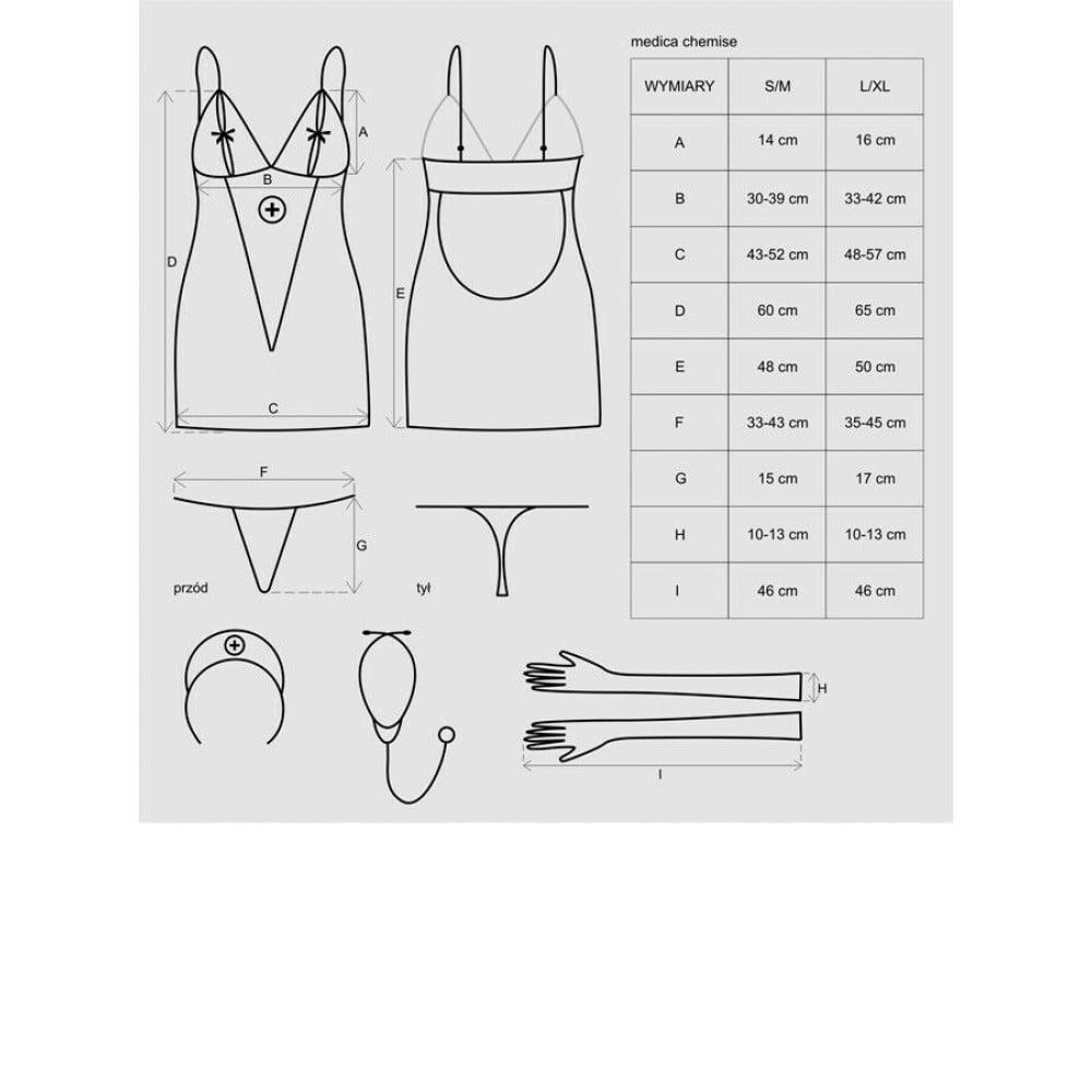 Ролевой костюм медсестры 5 предметов, S/M (9656)