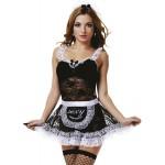 Костюм горничной черное платье с кружевной юбкой, S/M