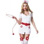 Костюм медсестры белый с красным поясом, 3 предмета, S/M