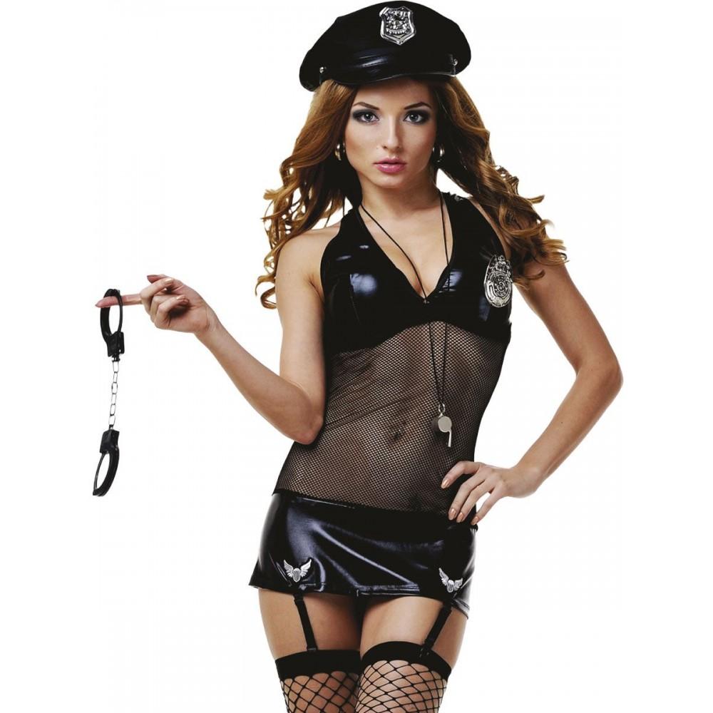 Костюм полицейской платье черное сетка, 4 предмета S/M - No Taboo