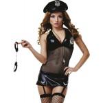 Костюм полицейской платье черное сетка, 4 предмета S/M