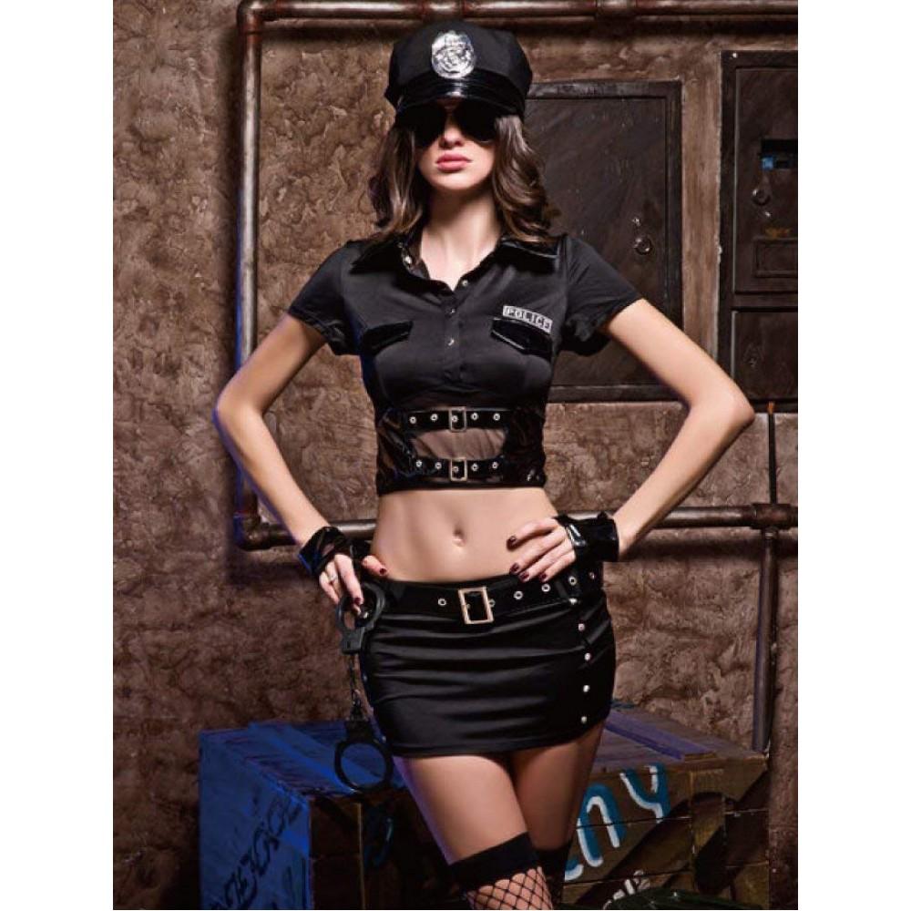 Секси костюм строгой полицейской 7 предметов, размер S/M (32030)