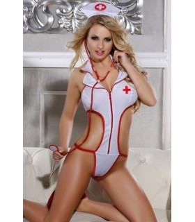 Костюм сексуальной медсестры, белый, 3 предмета, размер One size - No Taboo