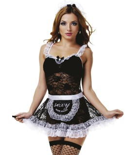 Костюм горничной черное платье с кружевной юбкой S/M - No Taboo