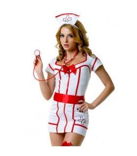Костюм медсестры белый халат на молнии L/XL - No Taboo