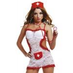 Костюм медсестры белый с кружевом открытая спина 4 пред LeFrivole L/XL