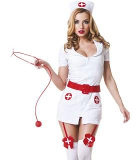 Костюм медсестры белый с красным поясом, 3 предмета, S/M - No Taboo