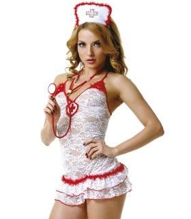 Костюм медсестри білий мереживний M/L - No Taboo