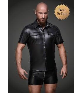 Рубашка на заклепках, виниловая, Noir Handmade, размер M - No Taboo