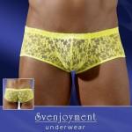Эротические шортики мужские кружевные, желтые