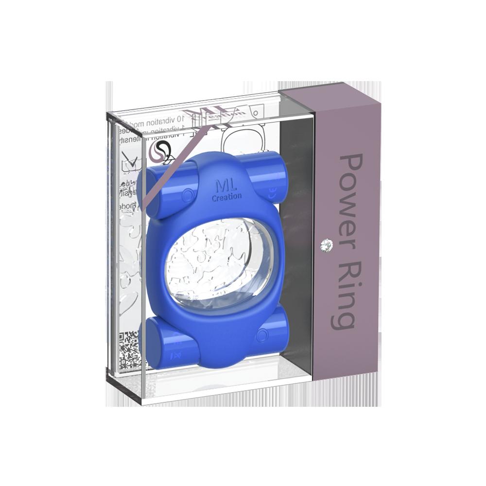 Эрекционное кольцо синего цвета 2 вибропули Power Ring ML Creation (My Love) (35100), фото 3 — секс шоп Украина, NO TABOO