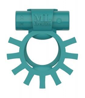 Эрекционное кольцо двойное c вибропулей Super Ring ML Creation (My Love), бирюзовое - No Taboo