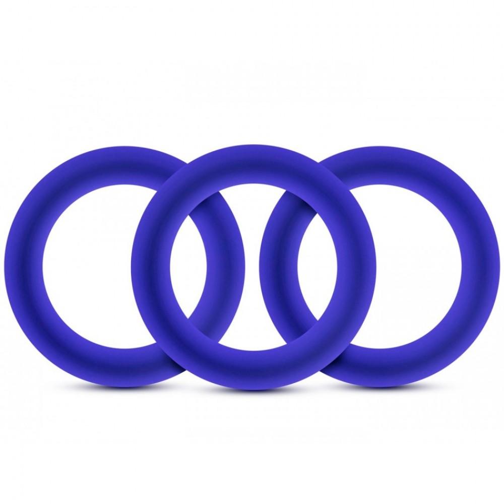 Набор эрекционных колец синего цвета , фото 1