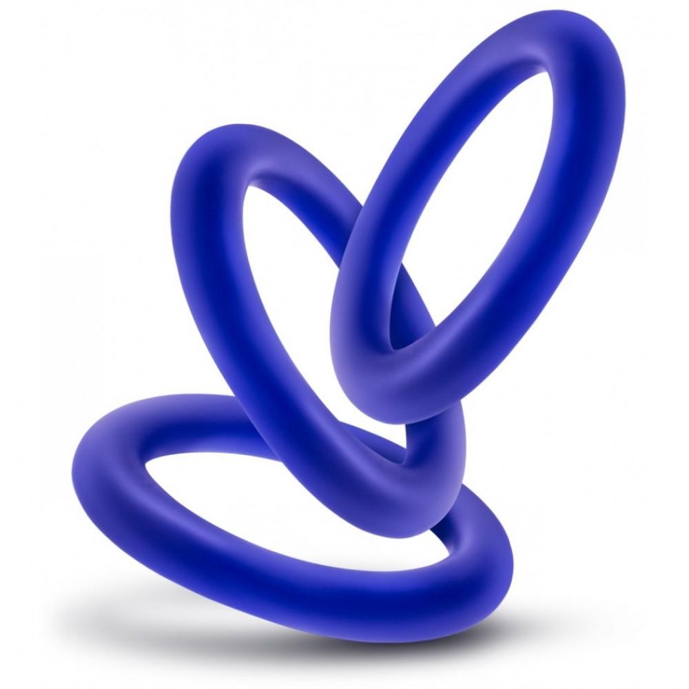 Набор эрекционных колец синего цвета , фото 2