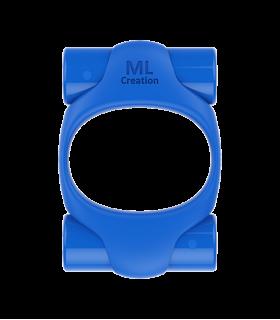 Эрекционное кольцо синего цвета 2 вибропули Power Ring ML Creation (My Love) - No Taboo