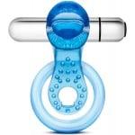 Эрекционное кольцо с вибро STAY HARD VIBRATING TONGUE RING BLUE