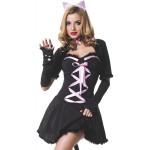 Костюм Кошки черной платье 5 предметов M/L