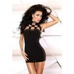 Эротичное облегающее мини платье с металлическими вставками S/M