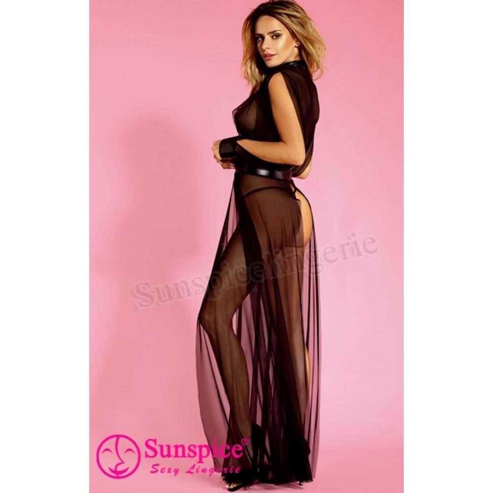 Эротическое длинное черное платье O/S (33584)