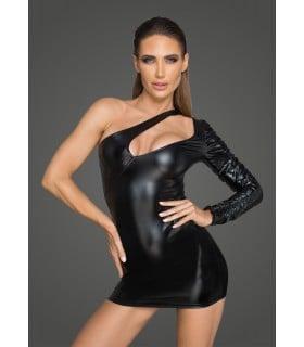 Облегающие черное платье из винила на одно плечо с эротическим вырезом S - No Taboo