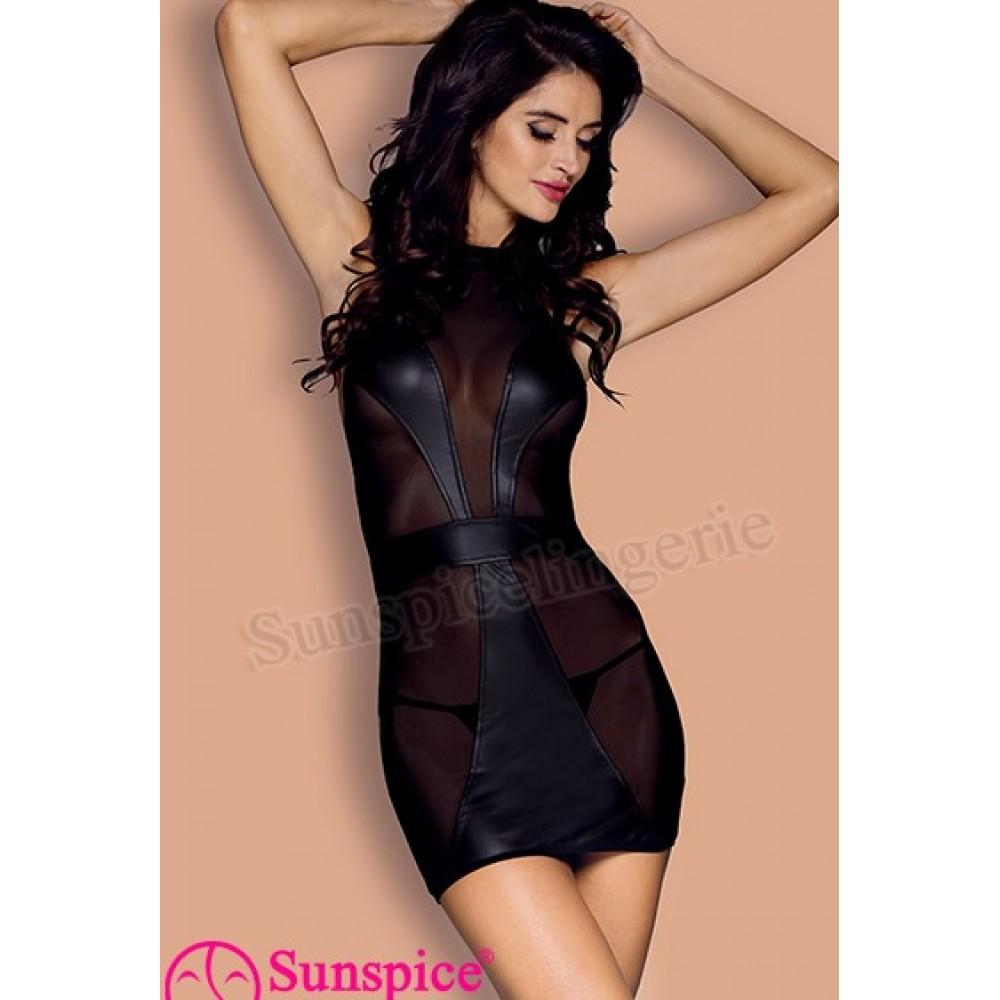Платье сексуальное виниловое с сеточкой O/S (33510), фото 1