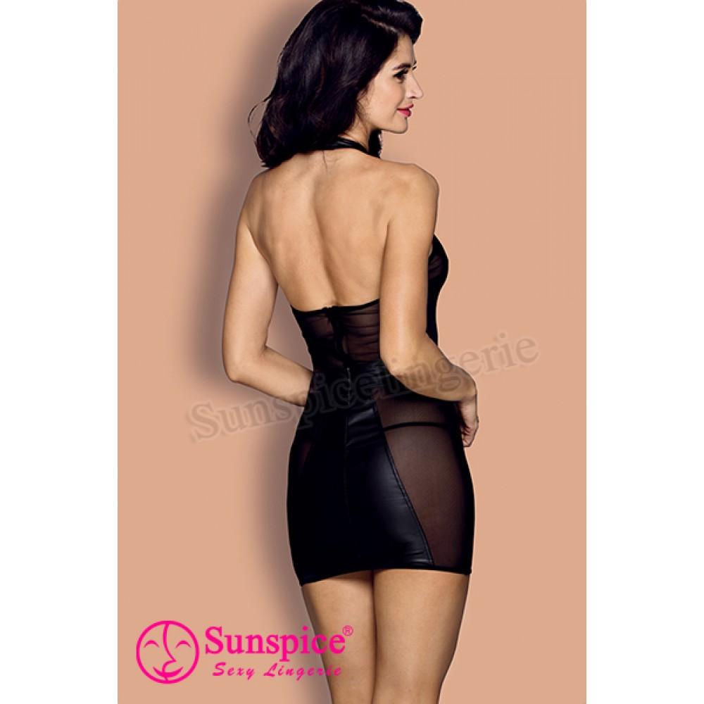 Платье сексуальное виниловое с сеточкой O/S (33510), фото 2