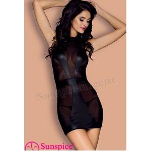 Платье сексуальное виниловое с сеточкой O/S (33510), zoom