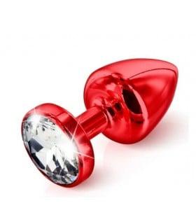 Французская анальная бижутерия из алюминия с круглым камнем, красная большая - No Taboo