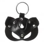 Кожаный брелок БДСМ маска Кошка, черный
