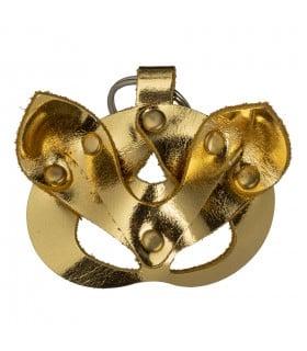 Кожаный брелок БДСМ маска Кошка, золотой - No Taboo