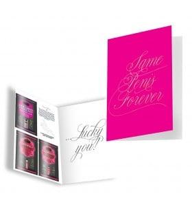 Подарочная открытка с набором Сашетов плюс конверт Kamasutra Same Penis Forever клубничка - No Taboo