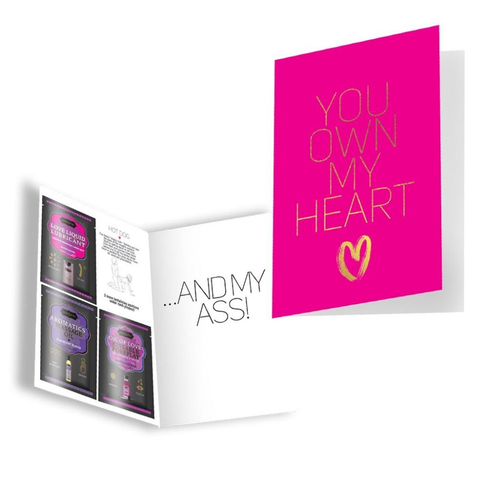 Подарочная открытка с набором Сашетов плюс конверт Kamasutra You Own My Heart (35712), фото 1 — секс шоп Украина, NO TABOO