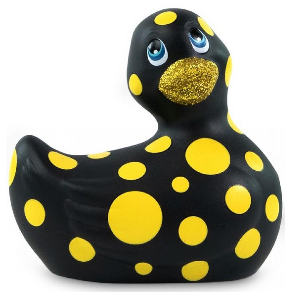 Каченя вібратор I Rub My Duckie чорна в жовтий горошок (34341)
