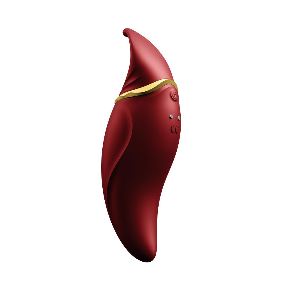 Стимулятор клитора с язычком и вибрацией бордового цвета Zalo Hero - No Taboo