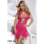Платье розовое кружевное эротическое O/S
