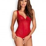 Эротическое боди кружевное, полупрозрачное красное Rougebelle crotchless teddy red S/M